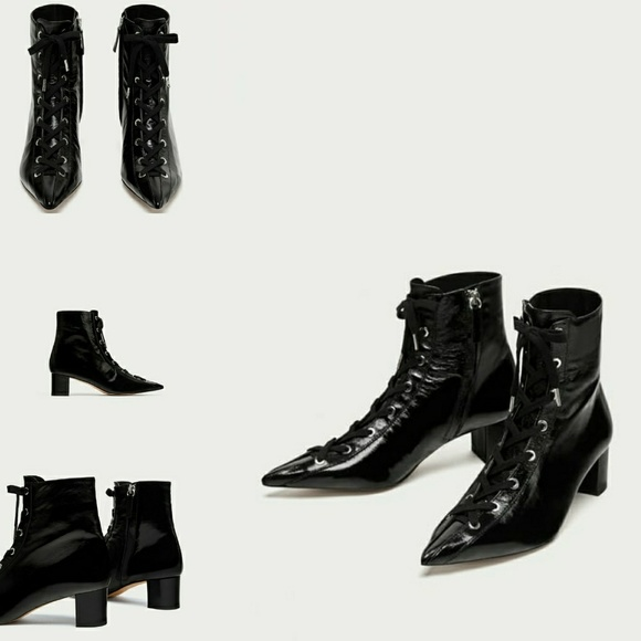 375ade20a5df ZARA LACE UP LEATHER HIGH HEEL ANKLE BOOTS